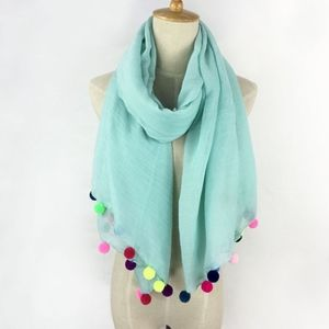 Summer Teal Pom Pom Scarf Swimsuit Cover up